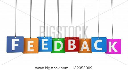 Customer feedback and satisfaction concept with feedback sign and word on colorful paper tags 3D illustration isolated on white background.