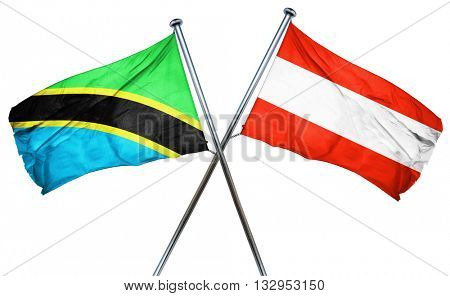Tanzanian flag with Austrian flag, 3D rendering