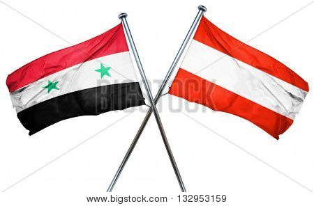 Syria flag with Austrian flag, 3D rendering