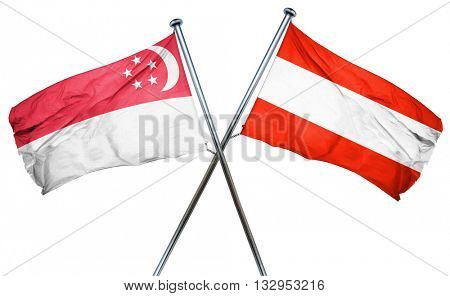 Singapore flag with Austrian flag, 3D rendering