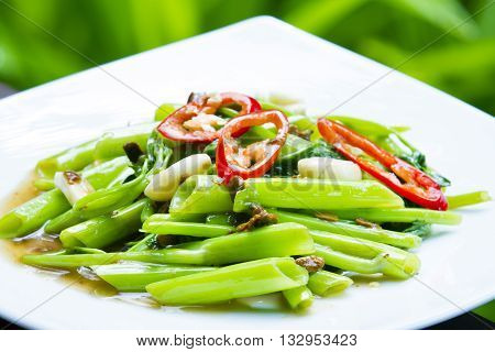 quick fried water spinach with chili and soy sauce