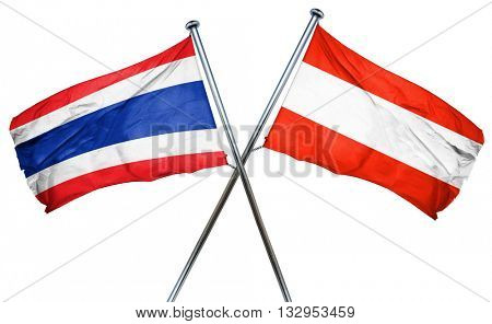 Thailand flag with Austrian flag, 3D rendering