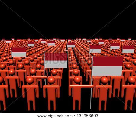 Crowd of abstract people with many Indonesian flags 3d illustration