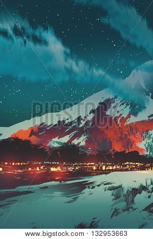 night scene of village in mountain, landscape illustration painting