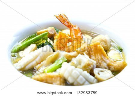 Seafood and Noodles in a Creamy Sauce Rad Na noodles delicious tradition thai food.Thai Hotel Luxury food.
