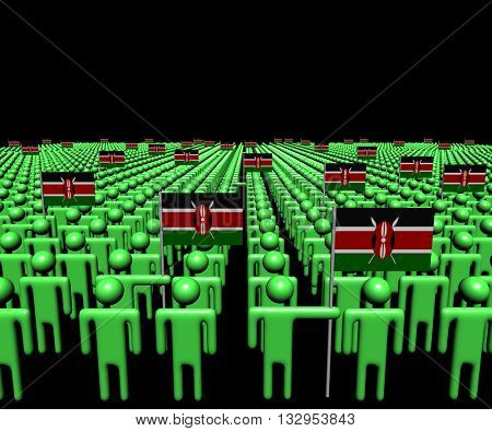 Crowd of abstract people with many Kenyan flags 3d illustration