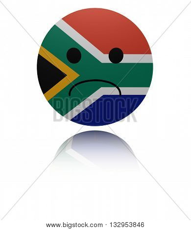 South Africa sad icon with reflection 3d illustration