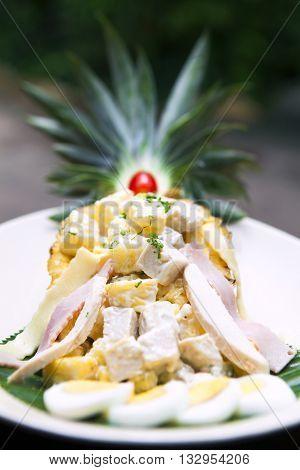 Tuna salad pineapple place in nature.Thai Hotel Luxury food.