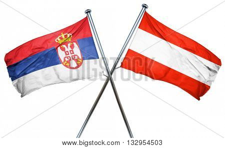 Serbia flag with Austrian flag, 3D rendering