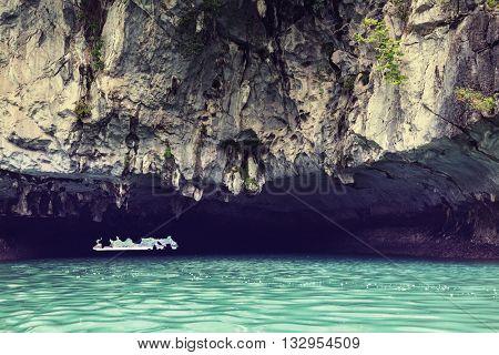 Rocks of Halong Bay, Vietnam. Instagram filter.