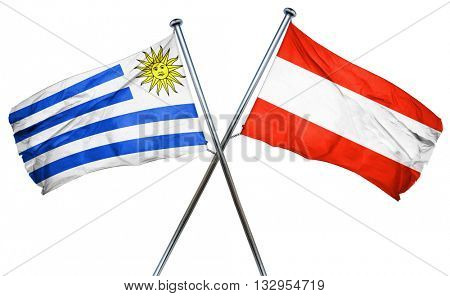 Uruguay flag with Austrian flag, 3D rendering