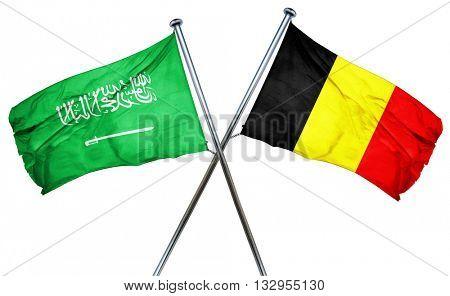 Saudi Arabia flag with Belgium flag, 3D rendering