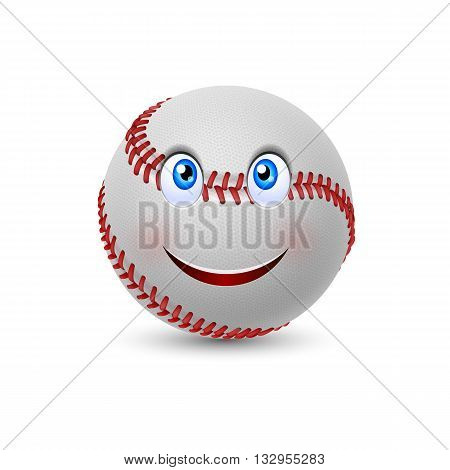 Cartoon baseball with smiling face on white background