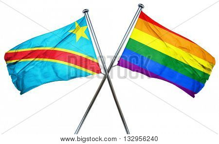 Democratic republic of the congo flag with rainbow flag, 3D rend