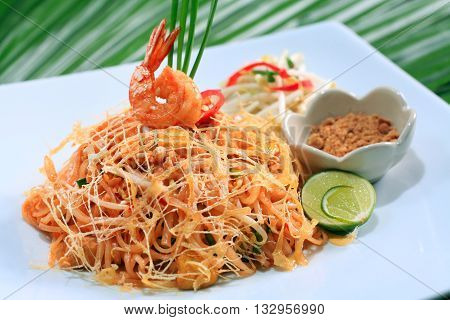 pad thai with chicken dish,Thai Hotel Luxury food.