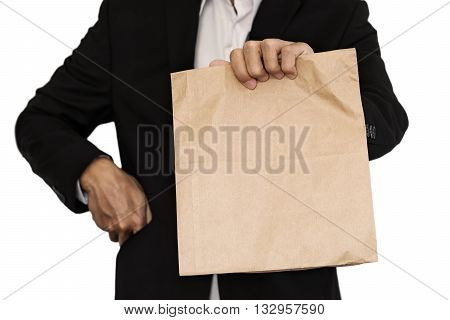 Businessman holding(Sharing,giv ing) brown paper bag lunch, isolated on white background