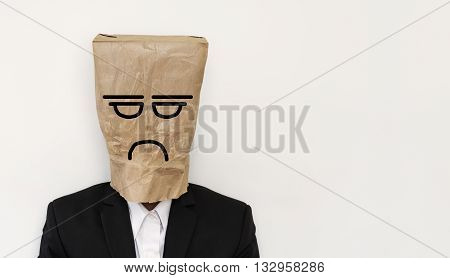 Businessman with crumpled paper bag, with bored anger face