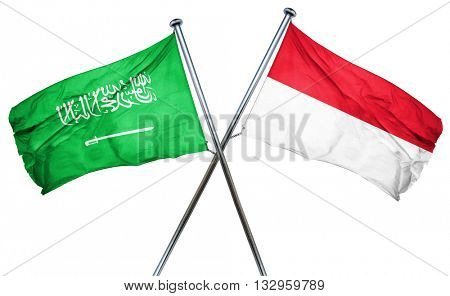 Saudi Arabia flag with Indonesia flag, 3D rendering