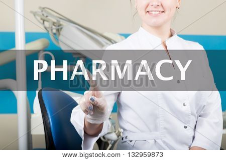 technology, internet and networking in medicine concept - medical doctor presses pharmacy care button on virtual screens. Internet technologies in medicine.