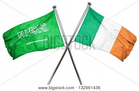 Saudi Arabia flag with Ireland flag, 3D rendering