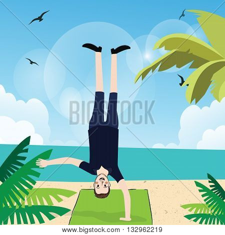 man handstand with one hand in beach exercise fun action upside down vector