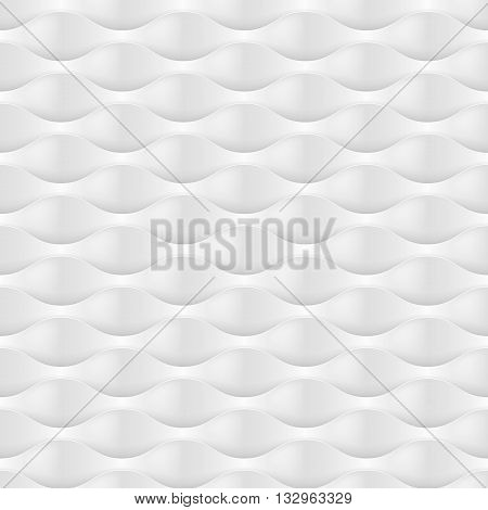 Embossed Texture Wave. Seamless Pattern in Light Gray Color