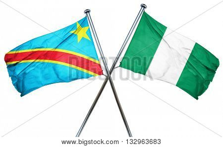 Democratic republic of the congo flag with Nigeria flag, 3D rend