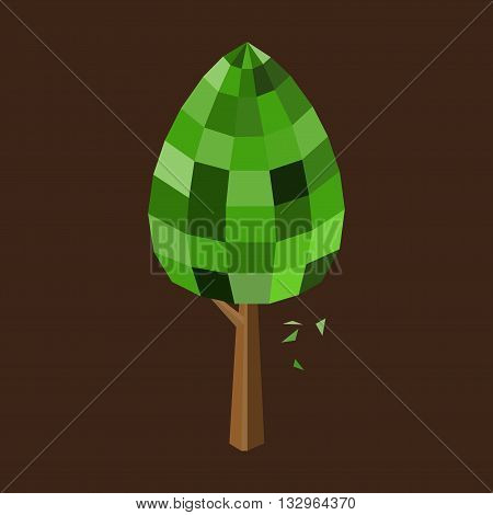 Low poly tree with green leaf and brown trunk. Isolated on brown backdrop. Vector illustration.