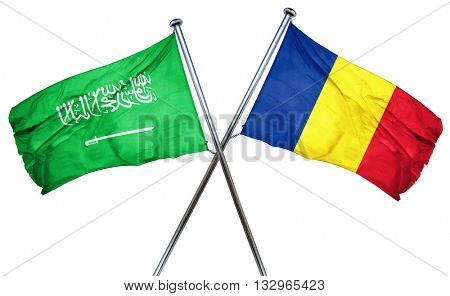 Saudi Arabia flag with Romania flag, 3D rendering
