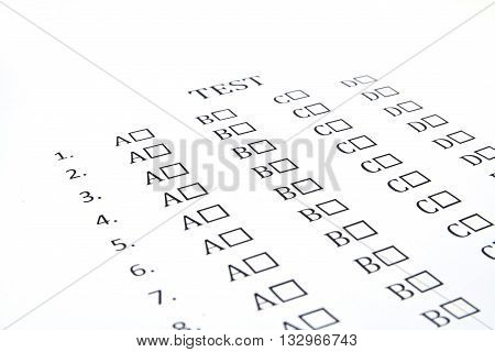 The test list on the examination, paper choices