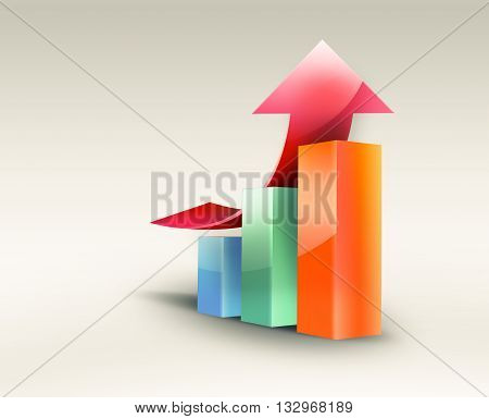 Business graph with growth progress red arrow conceptual business image, 3D illustration