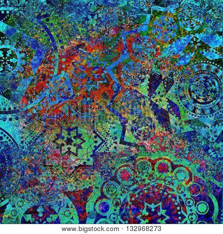 motley geometric blue green  pattern, shabby background