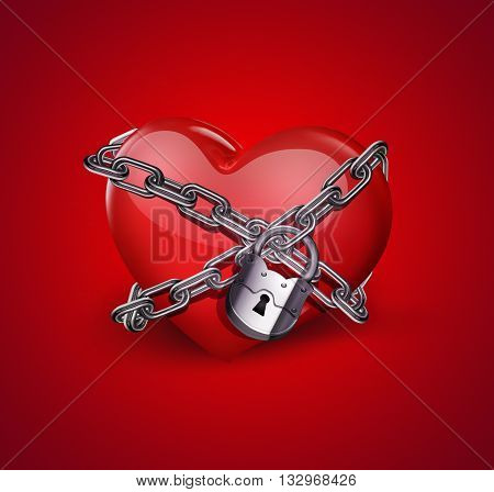 red heart in chains close-up on red background, 3D illustration
