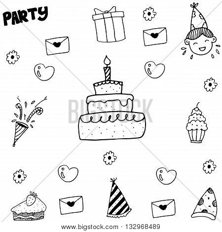 Element kids party doodle vector balck and white backgrounds