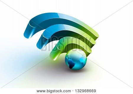 Bright symbol of Wi Fi with blue world on white background , 3D illustration