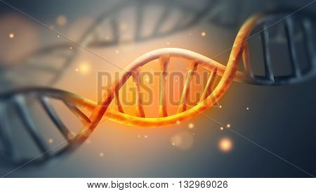 glowing DNA strand with sparks close-up full screen, 3D illustration