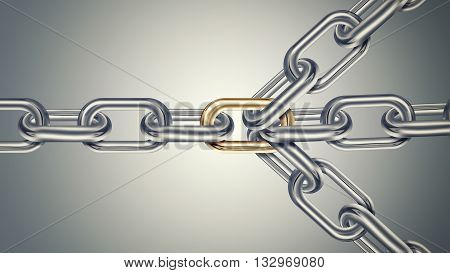 Chains are connected by golden link on a light background connected group concept image leadership concept teamwork concept , 3D illustration