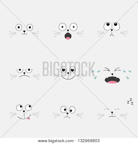 Cute black cat head set. Funny cartoon characters. Different emotions faces collection Expression face icons Crying happy sad angry kitten. Cat feelings. White background Flat Vector illustration