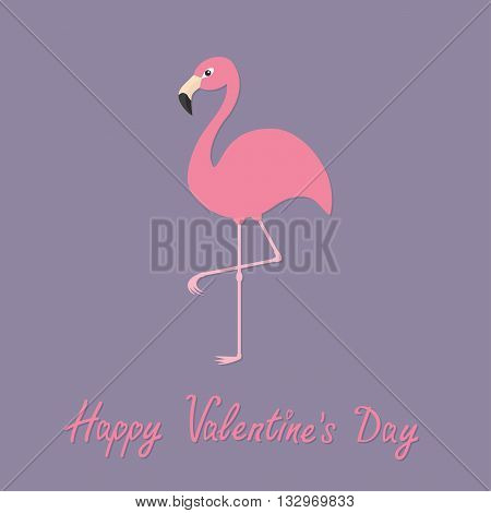Flamingo standing on one leg. Exotic tropical bird. Zoo animal collection. Cute cartoon character. Happy Valentines day. Love greeting card. Decoration Flat Violet background.Vector illustration