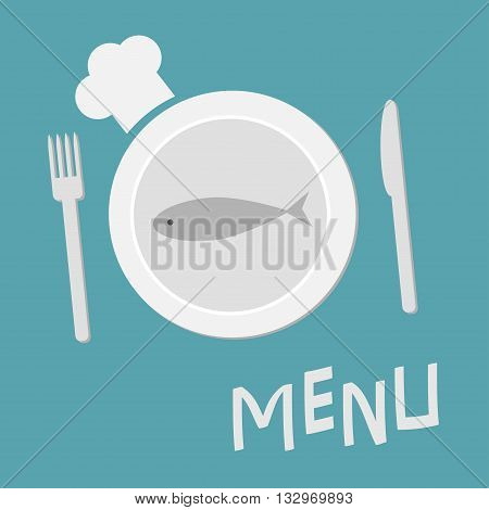 Plate with fish fork knife and chefs hat. Menu card. Restaurant food dish. Flat material design style. Blue background. Vector illustration.