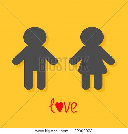 Man and Woman icon Male Female sign. Gender symbol Love card. Isolated Yellow background Flat design. Vector illustration