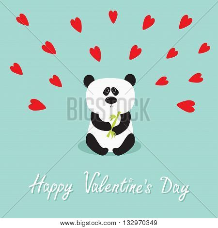 Panda baby bear. Cute cartoon character holding bamboo. Wild animal collection for kids. Blue background with red hearts. Happy Valentines day. Love greeting card. Flat design. Vector illustration
