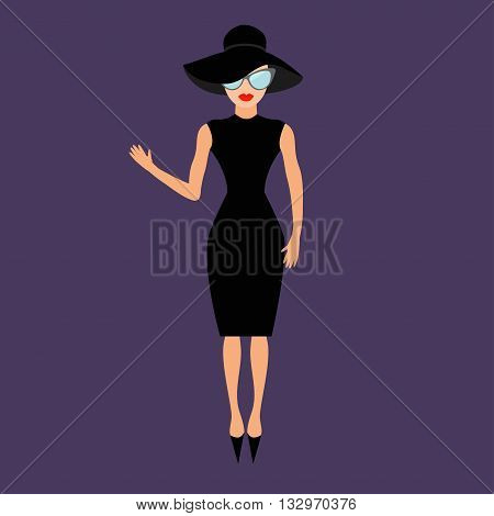 Woman in black elegant hat and sunglasses waving. Rich and beautiful celebrity girl. Beauty fashion model face red lips People collection Cute cartoon character Flat Violet background Isolated Vector