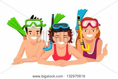 Happy children with underwater snorkeling. Vector illustration on white background. The concept of summer vacation. Snorkeling.