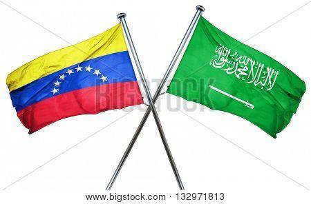Venezuela flag with Saudi Arabia flag, 3D rendering