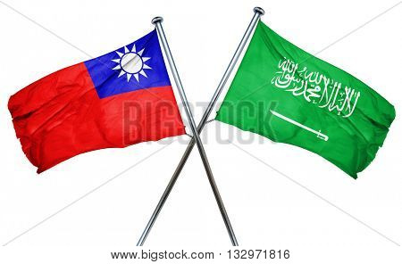 Republic of china flag with Saudi Arabia flag, 3D rendering