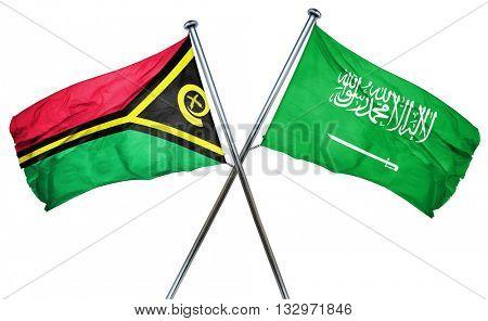 Vanatu flag with Saudi Arabia flag, 3D rendering