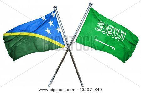 Solomon islands flag with Saudi Arabia flag, 3D rendering