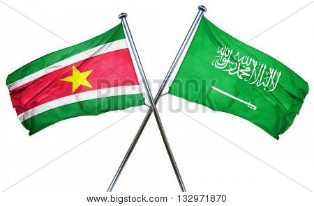 Suriname flag with Saudi Arabia flag, 3D rendering