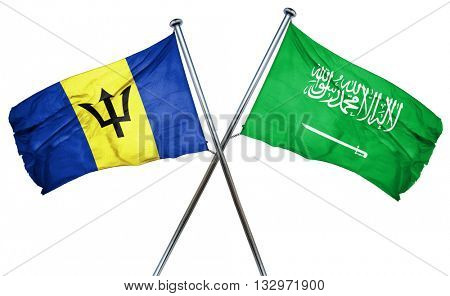 Barbados flag with Saudi Arabia flag, 3D rendering